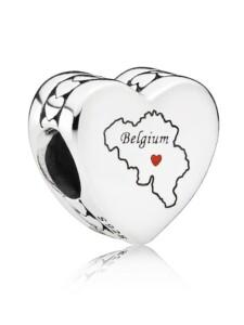 Charm -Herz Belgien- Pandora Silberfarben