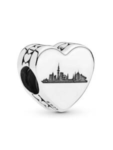 Charm -Herz- Hamburg Skyline und Schriftzug Hamburg – Pandora Silberfarben