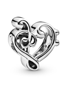 Charm -Herz Notenschlüssel- Pandora Silberfarben