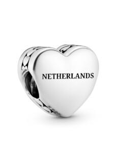 Charm -Herz- Schriftzug Netherlands und Tulpe – Pandora Silberfarben