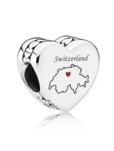 Charm -Herz- Schweiz- Pandora Silberfarben