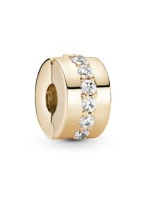 Charm -Klare funkelnde Linie- 14K Gold Pandora Gelbgoldfarben