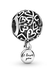 Charm -Liebesherzen- Pandora Silberfarben