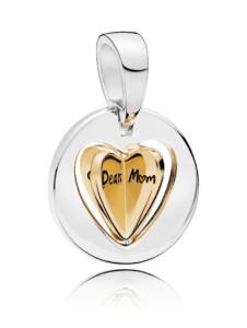 Charm -Mamas goldfarbenes Herz- Pandora Gelbgoldfarben::Silberfarben