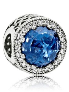 Charm -Mitternachtsblauer Strahlenkranz der Herzen- Pandora Blau