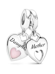 Charm -Mutter und Tocher teilen das Herz- Pandora Silberfarben