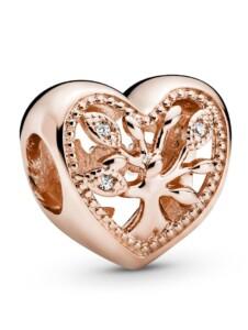 Charm – Offen gearbeitetes Stammbaum Herz – Pandora Rosé
