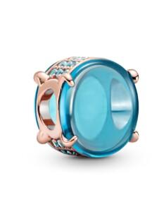 Charm – Blaues Ovales Cabochon – Pandora Rosé