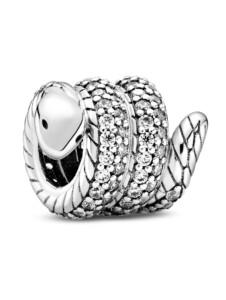 Charm – Funkelnde, zusammengerollte Schlange – Pandora Silberfarben