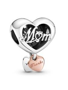 Charm – Danke Herz Mum – Pandora Silberfarben