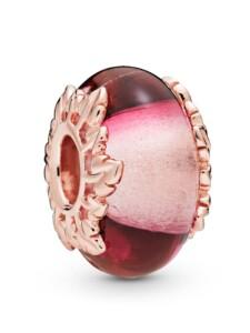 Charm -Pink Glas und Blätter- Pandora Rosé