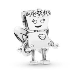 Charm Robot girl aus 925er Sterlingsilber