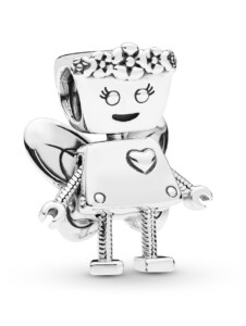 Charm -Roboter-Blumenmädchen mit Flügeln- Pandora Silberfarben