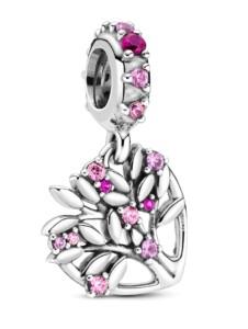 Charm -Rosa Herz Stammbaum- Pandora Silberfarben