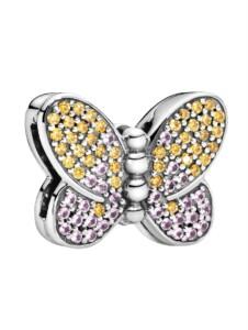 Charm -schimmernder Schmetterling- Pandora Silberfarben