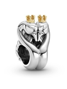 Charm -Schwäne und Herz- Pandora Silberfarben