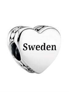 Charm -Schweden- Schriftzug Sweden und schwedisches Dalapferd Pandora Silberfarben