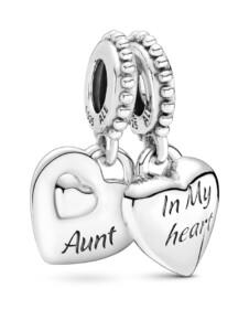 Charm -Tante und Nichte teilen das Herz- Pandora Silberfarben