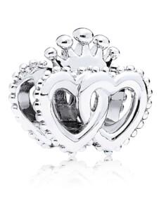 Charm -Vereinigte königliche Herzen- Pandora Silberfarben