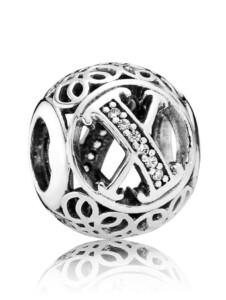 "Charm -Vintage Alphabet ""X""- Pandora Weiß"