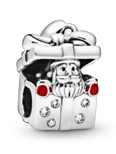 Charm -Weihnachtsmann in einer Geschenkbox Pandora Silberfarben