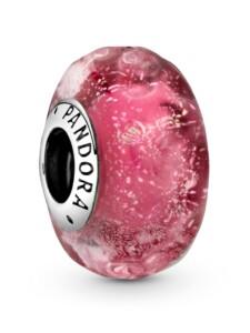 Charm – Wellenförmiges lachsfarbenes Muranoglas – Pandora Silberfarben