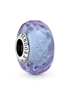 Charm – Wellenförmiges Lavendelblaues Muranoglas – Pandora Silberfarben