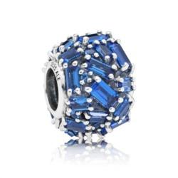 Chiselled Elegance Charm 925er Silber blaue Zirkonia