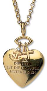 Christiane Wendt: Herz-Anhänger 'Glaube, Liebe, Hoffnung' mit Kette
