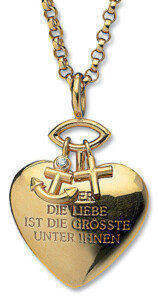 Christiane Wendt: Herz-Anhänger 'Glaube, Liebe, Hoffnung' mit Kette, Collier, Schmuck