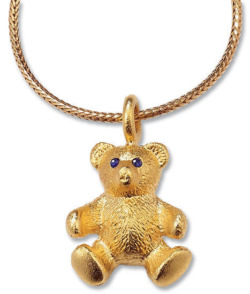Christiane Wendt: Teddy-Collier 'Mein bester Freund', Version vergoldet, Collier, Schmuck