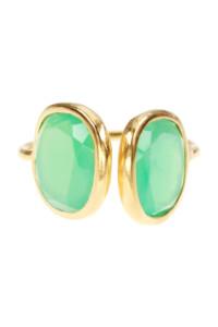 Chrysopras Ring vergoldet
