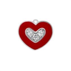 Clip Charm 925 Silber Emaille Zirkonia Herz