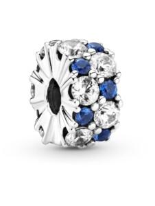 Clip-Charm -blauer Funke- Pandora Silberfarben