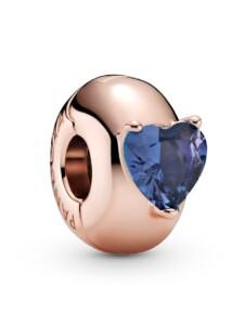 Clip-Charm -Blaues Herz- Pandora Rosé