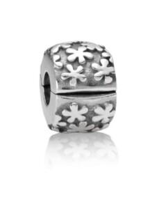 Clip-Charm -Blumen- Pandora Silberfarben