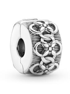 Clip-Charm -Blumenmuster- Pandora Silberfarben