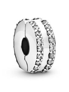 Clip-Charm -Doppelt linierter Pavé- Pandora Silberfarben