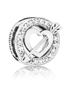 Clip-Charm -Herz mit Pfeil- Pandora Silberfarben