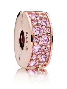 Clip-Charm – Rosafarbener Pavé – Pandora Roségoldfarben