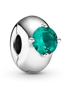 Clip-Charm – Grüner Runder Solitär – Pandora Silberfarben