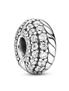 Clip-Charm – Pavé-Clip mit Schlangengliedermuster – Pandora Silberfarben
