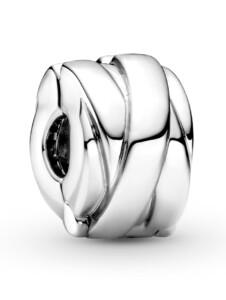 Clip-Charm -polierte Bänder- Pandora Silberfarben