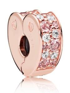Clip-Charm – Rosafarbenes Pavé-Herz – Pandora Rosé