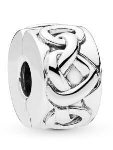 Clip-Charm -Verknotete Herzen- Pandora Silberfarben