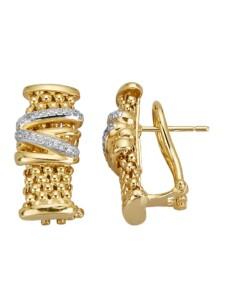 Clip-Stecker mit Zirkonia Diemer Silber Gelbgoldfarben