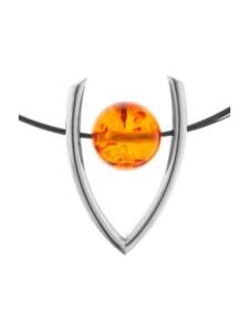 Collier – Bernsteinkugel 16 mm – Bernstein – , OSTSEE-SCHMUCK silber