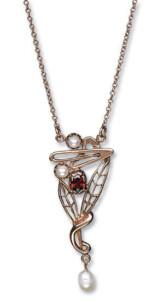 Collier 'Granat mit Perlen', Collier, Schmuck