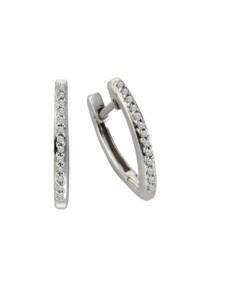 Creolen 925/- Sterling Silber Diamant weiß Diamant 1,6cm Glänzend 0,10 Celesta Silbergrau