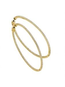 Damen 925 Silber Ohrringe / Creolen mit Zirkonia 1001 Diamonds vergoldet
